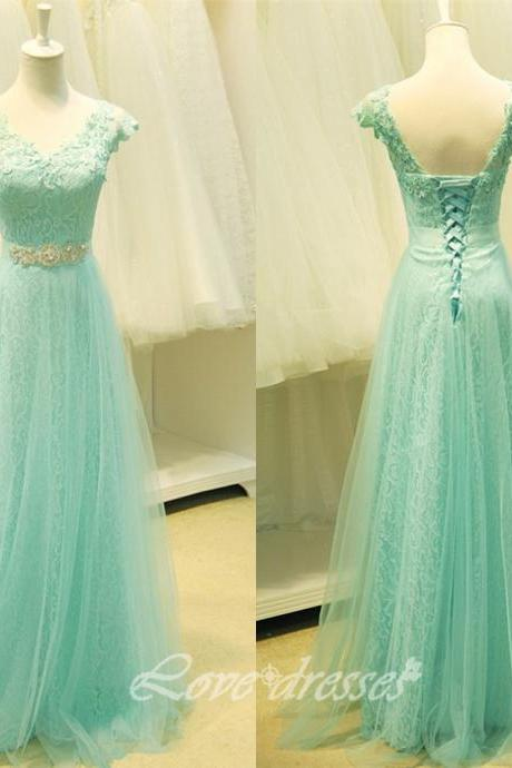 2015 New Long Lace Prom Evening Party Dress Straps Graduation Gown Prom Gown S185