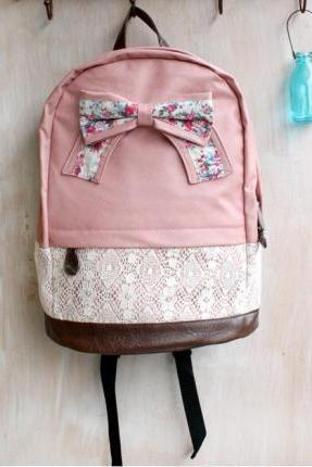 Floral Bow And Lace Backpack