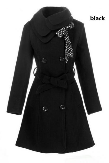 Black Wool Overcoat Fashion Black Trench Coats with Polka Dots Scarf
