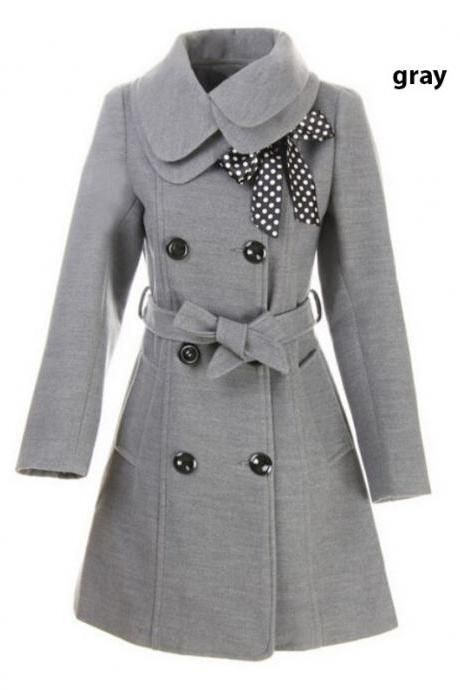 Gray Wool Overcoat Fashion Gray Trench Coats with Polka Dots Scarf