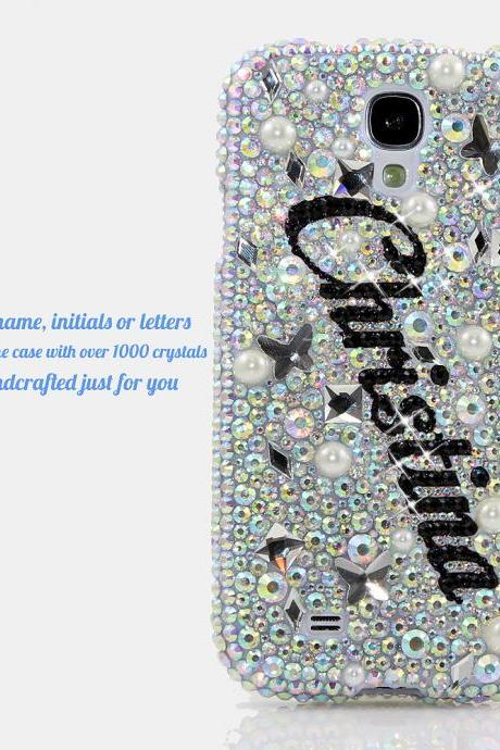 Bling Crystals Phone Case for iPhone 6 / 6s, iPhone 6 / 6s PLUS, iPhone 4, 5, 5S, 5C, Samsung Note 2, Note 3, Note 4, Galaxy S3, S4, S5, S6, S6 Edge, HTC ONE M9 (AB CLEAR CRYSTALS PERSONALIZED NAME & INITIALS DESIGN) By LuxAddiction