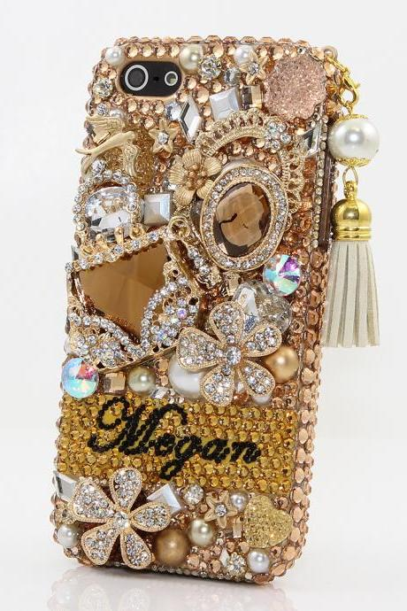 Bling Crystals Phone Case for iPhone 6 / 6s, iPhone 6 / 6s PLUS, iPhone 4, 5, 5S, 5C, Samsung Note 2, Note 3, Note 4, Galaxy S3, S4, S5, S6, S6 Edge, HTC ONE M9 (GOLDEN GLORY PERSONALIZED NAME & INITIALS DESIGN WITH TASSLE PHONE CHARM) By LuxAddiction