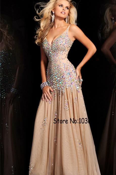 Spaghetti Straps V-neck Chiffon And Tulle Champagne Prom Dresses AB Stones Beading Evening Dress Mermaid Party Dress vestidos de
