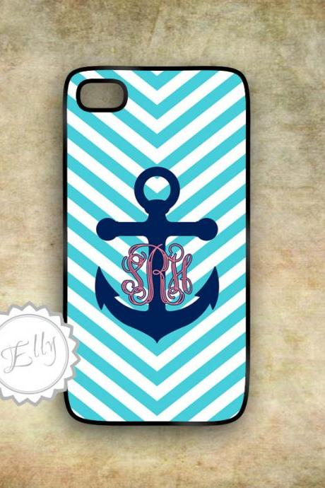 iPhone case Anchor Preppy Monogram Custom Hard Case Nautical Chevrony