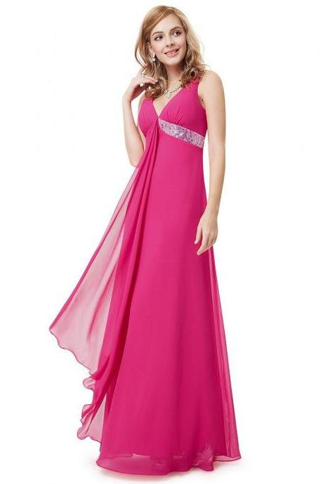 prom Dresses 2015 V-Neck Flowy Ribbon Sequined Waist Long Party Dress