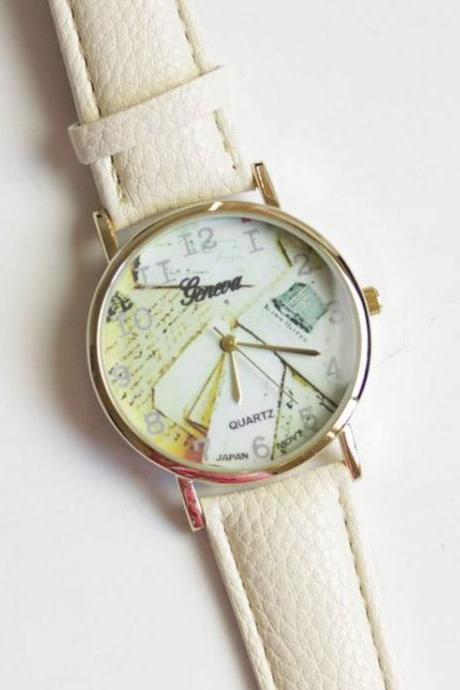 Trendy Pu leather band fashion white unisex watch