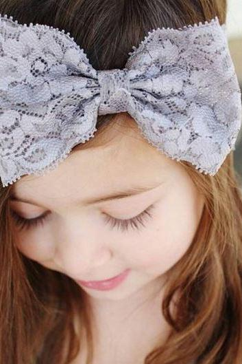 Gray Girls Lace Headband Gray Stretchable Girls Bow for 2T