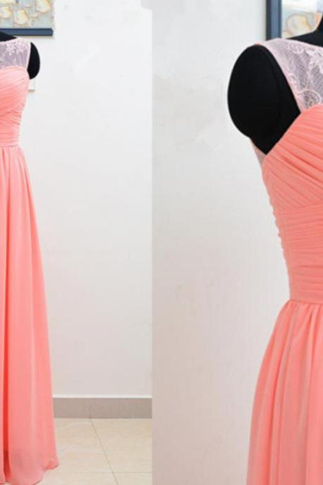 Pretty Light Coral Lace Long Simple Prom Dresses 2016, Long Prom Dresses 2016, Pink Prom Dresses, Evening Dresses