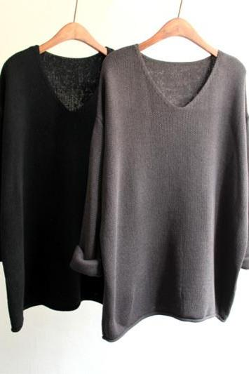 Hedging Loose V-Neck Sweater