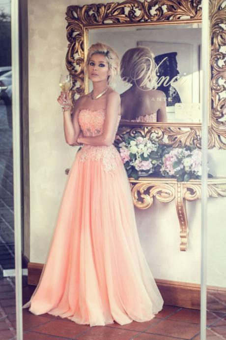 Custom Made A Line Floor Length Long Prom Dresses, Formal Dresses, Evening Dresses 2015,Beading Prom Gowns,Chiffon Sweetheart Neck Evening Gowns,