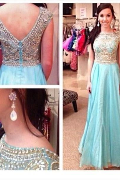 Custom Made A Line Round Neck Long Prom Dresses, Long Homecoming Dresses, Long Evening Dresses ,Chiffon Floor Length Prom Dress,Party Dress For Evening,Prom Gowns 2015