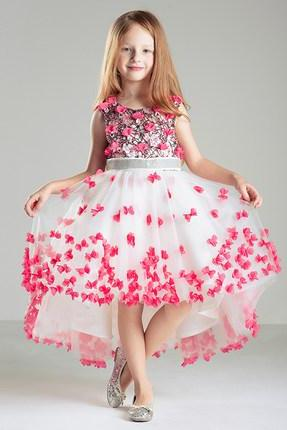 Elegant sleeveless white tulle with hot pink flowers A line little girl dress,kid dress for wedding,baby birthday dresses