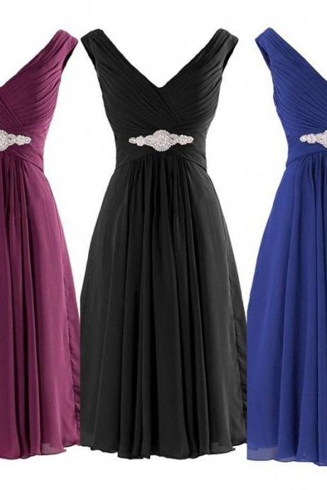 Mix Color A-line V Neck Chiffon Short Bridesmaid Dress Custom Made