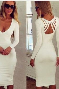 Elegant V Neck White Long Sleeve Dress