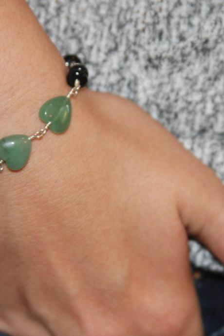 Heart Green Aventurine Gemstone Sterling Silver Wire Wrapped Bracelet, Handmade Bracelet, Everyday Black Beaded, Friendship Bracelet
