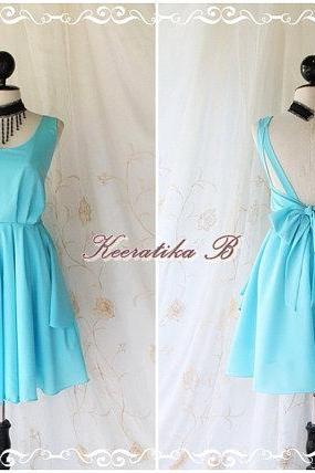 A Party V Shape - Prom Party Cocktail Bridesmaid Dinner Wedding Night Dress Light Baby Blue Sweet Gorgeous Glamorous Dress