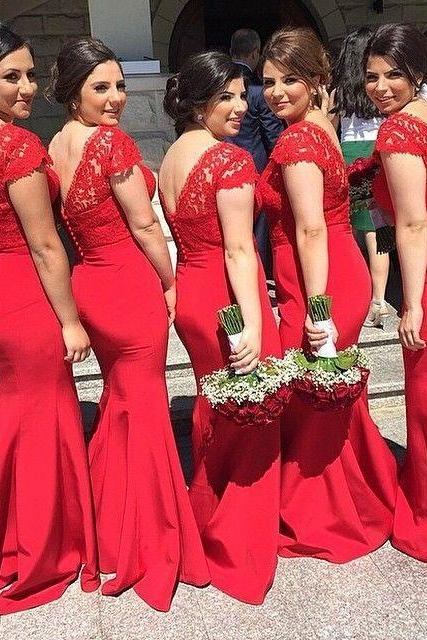 New Trend Red Mermaid Lace Long Bridesmaids Dresses With Cap Short Sleeves V Neck Sexy Prom Gowns Formal Dress Wedding Party Dresses Plus Size