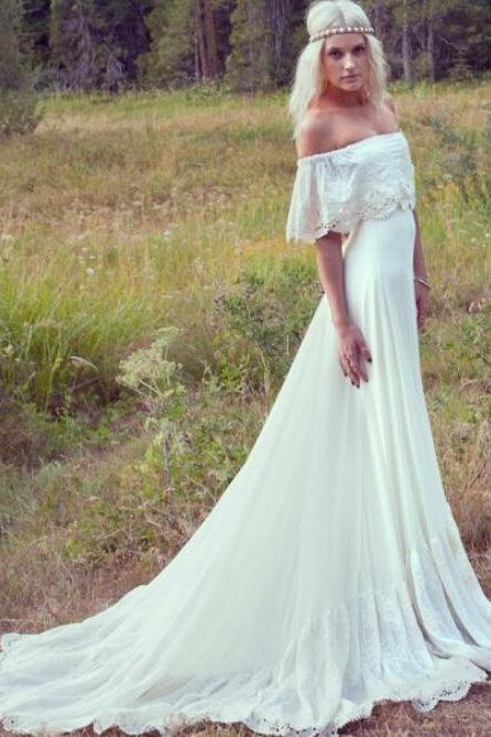 New Wedding Dresses Cream Ivory Off The Shoulder Lace Edge Chiffon Vintage/Beach Wedding Gowns Long Bride Dress