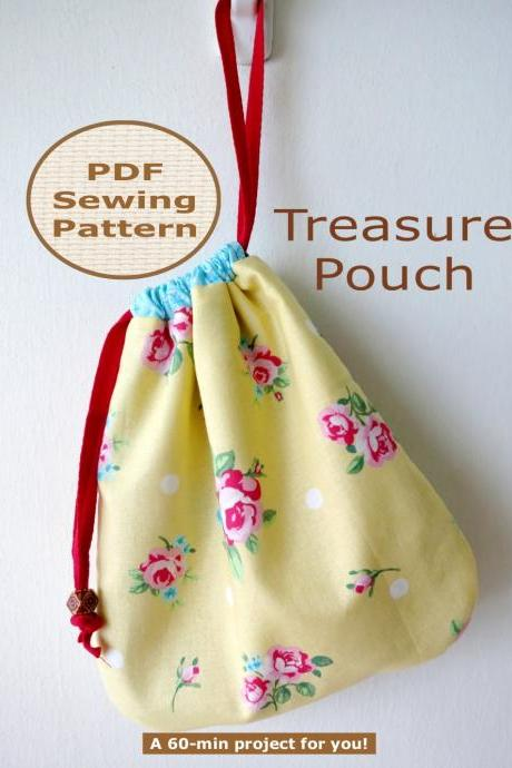 BEGINNER 60-min PDF Bag Sewing Pattern And Tutorial - Treasure Pouch