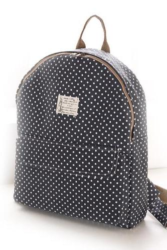 Fresh Pinstripe Polka Dot Pattern School Backpack
