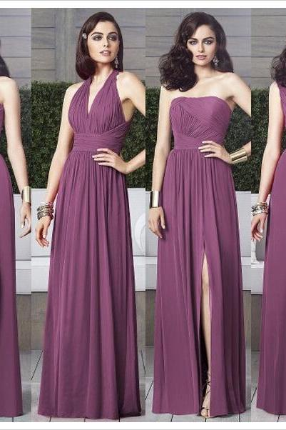 Purple Mismatched Bridesmaid Dresses, Long Bridesmaid Dress, Chiffon Bridesmaid Dress, Cheap Bridesmaid Dress, Wedding Party Dresses, Dresses For Weddings, Plum Bridesmaid Dress