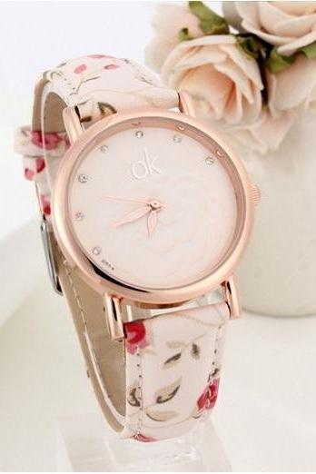 Flowers multicolor Pu leather white band girl watch