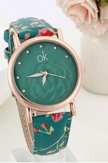 Flowers multicolor Pu leather blue band girl watch