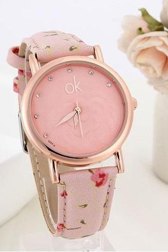 Flowers multicolor Pu leather pink band girl watch