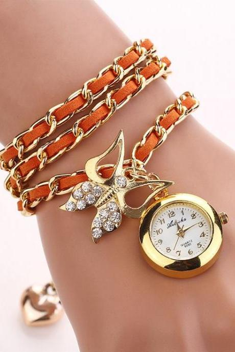 Dress Long Orange Bracelet Fashion Lady Watch