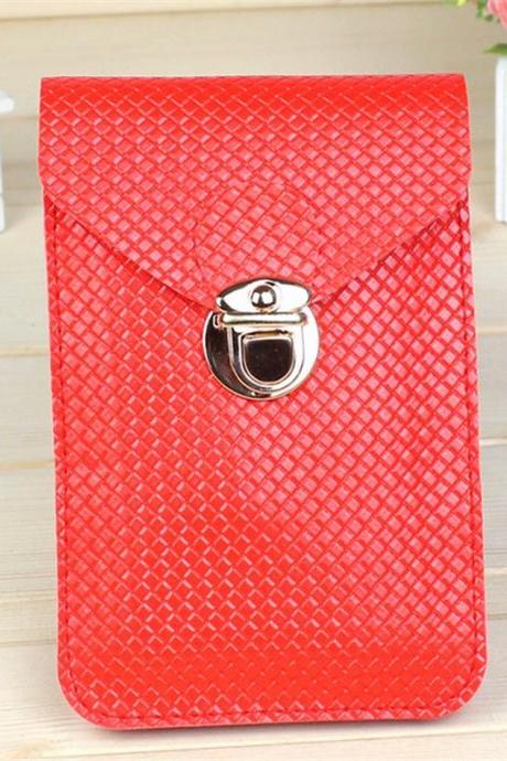The new Ms. fashion diagonal packet mini shoulder bag phone package packet purs(Colour: Red)