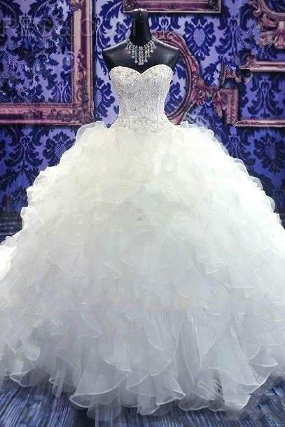 Fabulous Wedding Dress Ruffled Ball Gown Sweetheart Bridal Dress with Corset Top Floor Length Ball Gown Vestido de noiva Plus Size