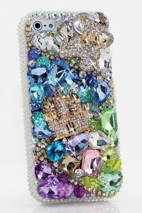 Bling Crystals Phone Case for iPhone 6 / 6s, iPhone 6 / 6s PLUS, iPhone 4, 5, 5S, 5C, Samsung Note 2, Note 3, Note 4, Galaxy S3, S4, S5, S6, S6 Edge, HTC ONE M9 (BEAR AND CASTLE DESIGN) By LuxAddiction
