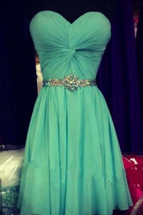 Pretty Simple Cute Short Green Prom Dresses 2016 with Beadings, Short Prom Dresses, Homecoming Dresses