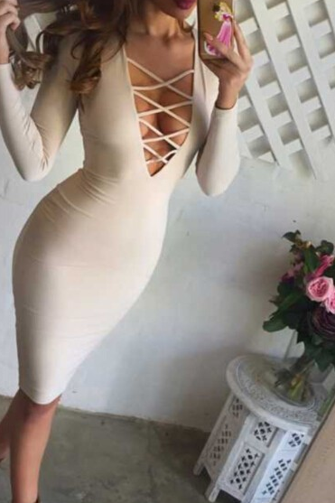 Lace-Up Plunge V Long Sleeves Knee Length Bodycon Dress