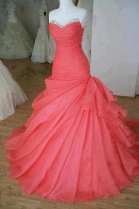 Real Custom Gorgeous Ball Gown Sweep Train Prom Dress,Prom Dresses 2015,Wedding Dress,Party Dresses,Dress For Prom,Formal Dress For Wedding,