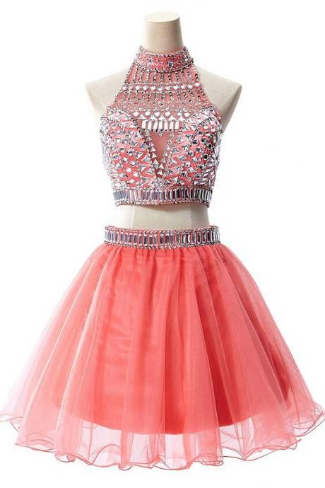 Hd08199 Charming Homecoming Dress,Organza Homecoming Dress,Beading Homecoming Dress,Halter Homecoming Dress