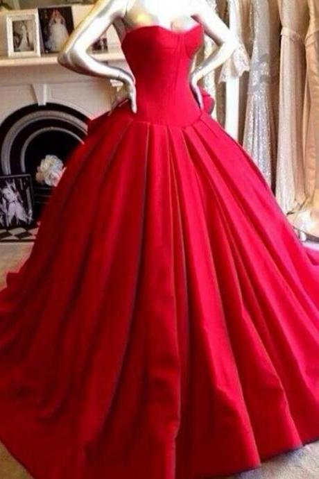 Hot Sale Red Sweetheart Neckline Long Ball Gown Prom Dresses, Red Prom Dresses, Prom Dresses 2015, Satin Red Wedding Dresses
