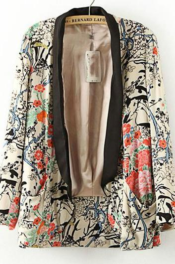 Fashion Long Sleeve Floral Print Loose Suit