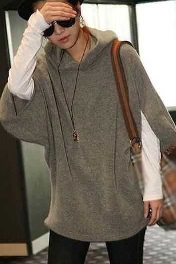 Hooded Collar Khaki Three Quarter Sleeve Sweats
