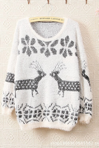 Hot Sale Women T-Shirt Long Sleeve Knit Sweater Set Of Deer