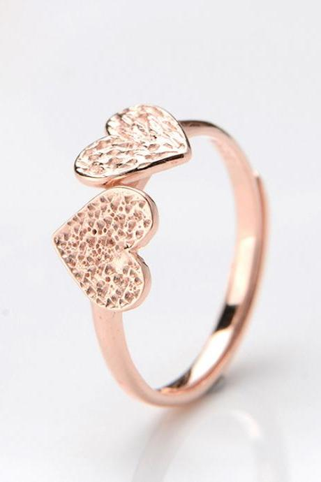 Two Hearts Rose Gold Opening Ring