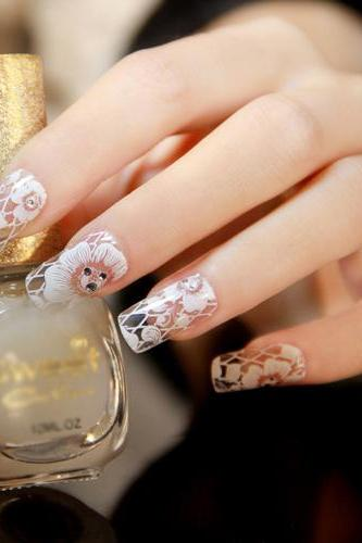 Flower Diamond Full Cover Nail Art Sticker Decals