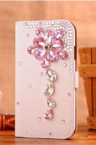 Flower Bling iPhone 7 Plus leather wallet case, iPhone 6 6s Plus leather case, iPhone 5s SE leather wallet case, iPhone 5 5c leather cover, bling wallet case for samsung galaxy note 5 note 4 s7 edge s6 edge s5