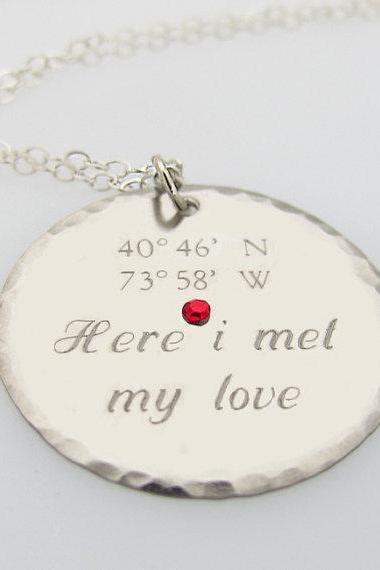 Latitude Longitude Pendant - GPS Engraved Necklace - Romantic Gift for Her - Personalized Disc Pendant - Sterling Silver Necklace