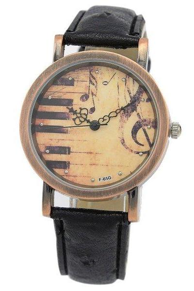 Piano watch, music watch, black leather watch, leather watch, bracelet watch, vintage watch, retro watch, woman watch, lady watch, girl watch, unisex watch, AP00418