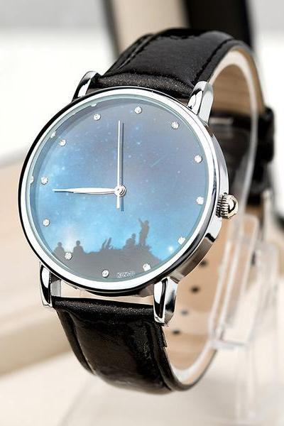 Galaxy watch, galaxy leather watch, black leather watch, leather watch, bracelet watch, vintage watch, retro watch, woman watch, lady watch, girl watch, unisex watch, AP00430