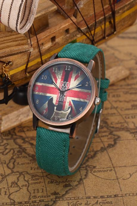 God Save Queen UK Flag Quartz Watch, Guitar leather watch, green leather watch, leather watch, bracelet watch, vintage watch, retro watch, woman watch, lady watch, girl watch, unisex watch, AP00441