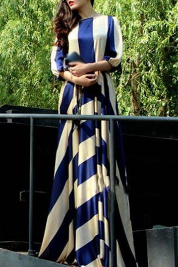 Fashion Blue and White Striped Floor Length Dress