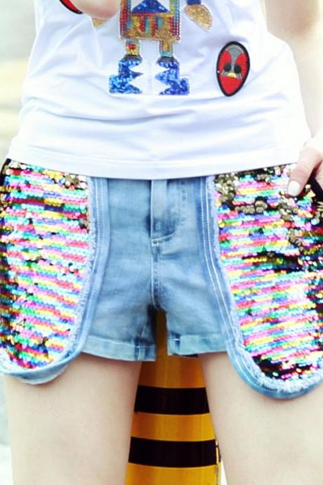 Two Way Sequin Embellished Denim Short Pants