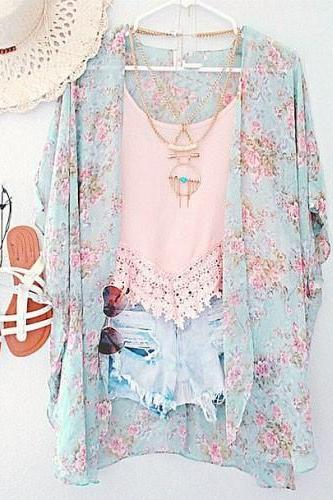 Printing bat sleeve shawl fashion coat